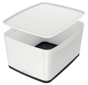 Úložný box s víkem Leitz MyBox, velikost L, bílá/černá