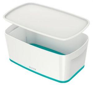 Úložný box s víkem Leitz MyBox, velikost S, bílá/ledově modrá