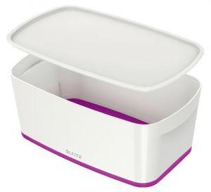 Úložný box s víkem Leitz MyBox, velikost S, bílá/fialová