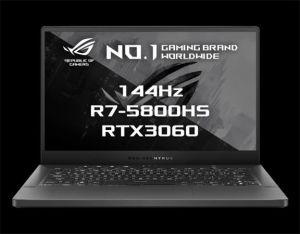 """ASUS ROG Zephyrus G14 - 14""""/R7-5800HS/8G*2/512G PCIE/RTX3060/W10H (Gray/Aluminum) + ROG zá"""