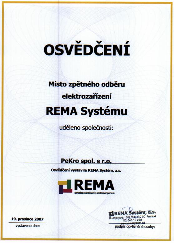 Osvedčení Rema